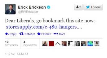 Shameful words from Eric Erickson.