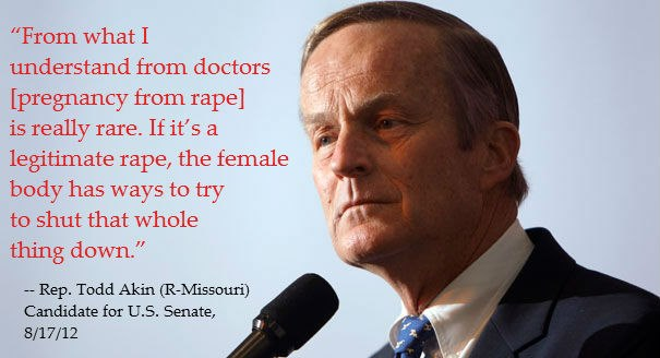 Universally offensive and medically inaccurate quote by Republican candidate Todd Akin. Courtesy of bigfishink.com.