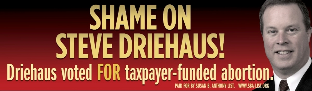 Above: The Susan B. Anthony List's disputed Steve Driehaus ad.