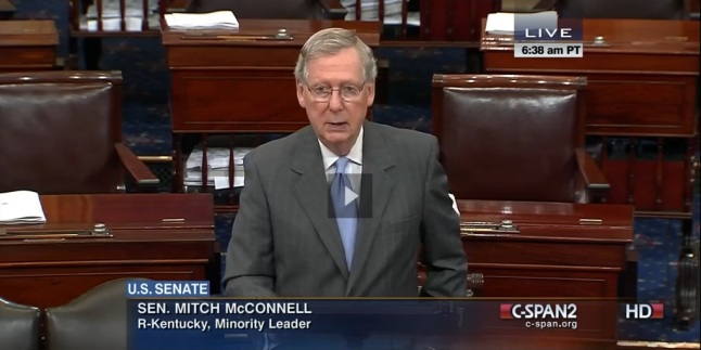 "Sen. McConnell introduces a new bill to ""Protect Religious Freedom and Preserve Women's Right to Make Contraception Decisions"" during the July 16, 2014 session"